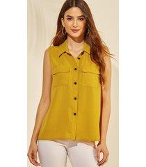 yoins amarillo classic camiseta sin mangas con botones delanteros y bolsillos en el cuello