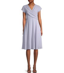 gal meets glam women's crossover-front a-line dress - soft lavender - size 0