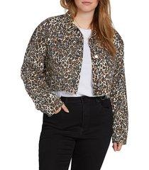 plus size women's volcom super stoney leopard print denim jacket