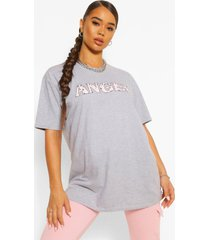 bandana print 'angel' slogan oversized t-shirt, grey