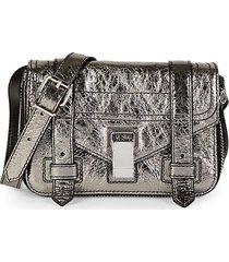 proenza schouler women's mini ps1 metallic leather crossbody bag - dark silver