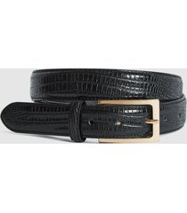 reiss moro - patent leather croc embossed belt in black, mens, size 36
