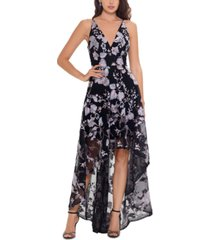 xscape embroidered a-line high-low dress