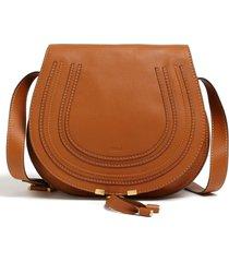 chloe medium marcie leather crossbody bag - beige