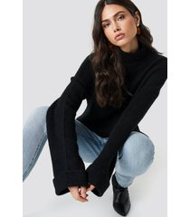 na-kd trend alpaca wool blend high neck sweater - black