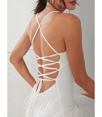 blanco sexy escote en v espalda abierta vestido