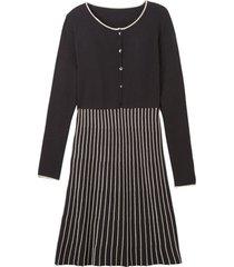 gebreide jurk, zwart/steen 40