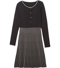 gebreide jurk, zwart/steen 38