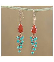carnelian and serpentine dangle earrings, 'autumn wind' (thailand)