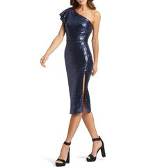 women's ieena for mac duggal sequin one-shoulder cocktail dress, size 12 - blue