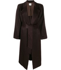 forte forte belted single breasted coat - brown