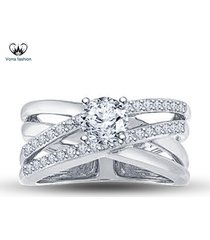 criss cross engagement ring round cut diamond 14k white gold plated 925 silver