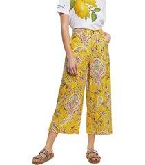 pantalón amarillo-multicolor desigual