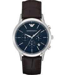 renato stainless steel & croc-embossed leather-strap chronograph watch