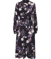 vintage drape belted midi dress knälång klänning multi/mönstrad by ti mo