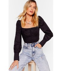 womens black straight neckline crop top with blouse sleeves