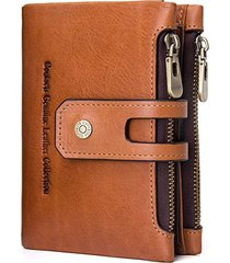contact's cartera piel genuina billetera doble zipper