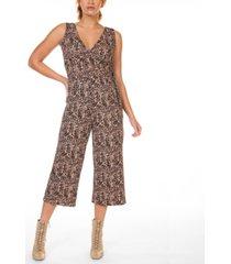black tape cheetah- print faux-wrap culotte jumpsuit, in regular & petite