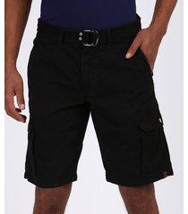 bermuda de sarja masculina cargo com cinto preta