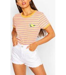 gestreept t-shirt met een citroen, koraal