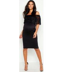 maternity bardot lace bodycon dress, black
