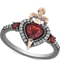 enchanted disney villains garnet (7/8 ct. t.w.) & diamond (1/6 ct. t.w.) evil queen heart & sword ring in 14k rose gold & black rhodium-plated sterling silver