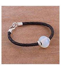 glass pendant bracelet, 'rainbow moon in black' (peru)