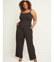 lane bryant women's shirred jumpsuit 14/16 black