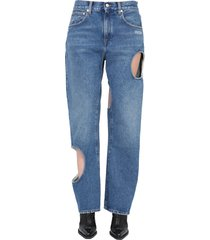off-white hole baggy jeans