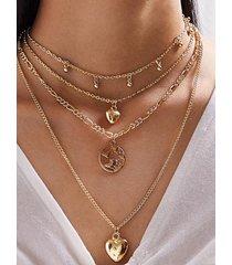 collar multicapa con colgante de aleación de corazón dorado