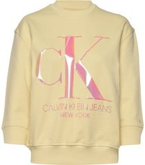 iridescent monogram sweat-shirt trui geel calvin klein jeans