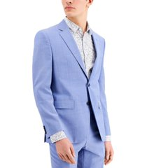 hugo men's chambray blue solid modern-fit wool suit separate jacket