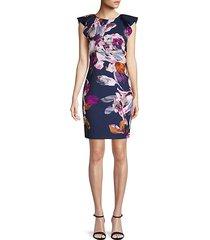 floral flutter-sleeve sheath dress
