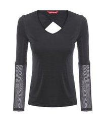camiseta recorte vazado - preto