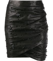 philipp plein studded biker skirt - black