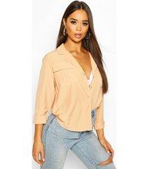woven pocket detail shirt, apricot
