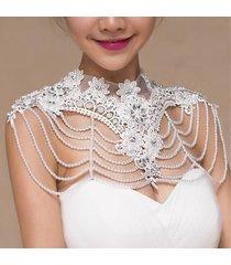 accessori di vestito da cerimonia nuziale nuziali della catena della spalla del merletto del fiore del branello della perla di sposa