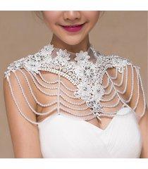 accessori per abiti da sposa da sposa con strass e perle in pizzo a fiori