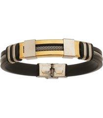 bracelete de aço inox gold tudo joias com 12mm de largura e cabo