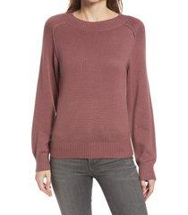 women's nordstrom cozy ballet neck sweater, size medium - brown