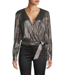 ted baker london women's wrap top - gold - size 2 (6)