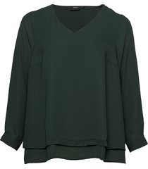blouse plus long sleeves v-neck plain blus långärmad grön zizzi