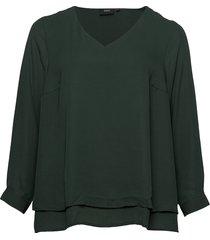 blouse plus long sleeves v-neck plain blus långärmad grön zizzi