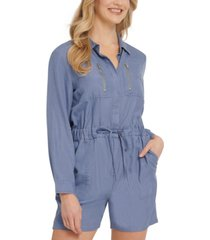 dkny jeans long-sleeve utility romper