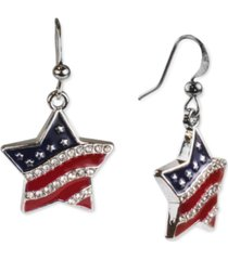 holiday lane silver-tone pave red, white & blue star drop earrings, created for macy's