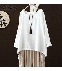 zanzea mujeres corte cuadrado de cuello de manga larga sólido tapas de la camisa de la blusa de gran tamaño tee -blanco