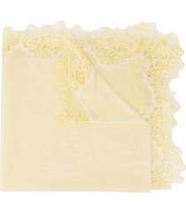 faliero sarti lace trim lightweight scarf - yellow