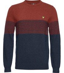 chest panel knitted jumper stickad tröja m. rund krage blå lyle & scott