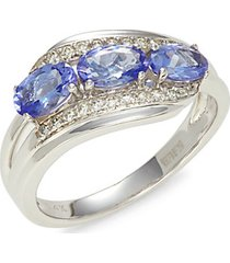 14k white gold, tanzanite & diamond cocktail ring