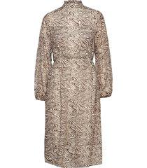 slfmingi ls midi dress ex jurk knielengte beige selected femme